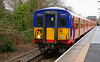 """SWT 455732 + 5850 are seen departing platform 2 at Hampton Court, with the Branch Line Society special charter """"The Vossloh Voyager"""" 14/01/2017.<br /> This charter started and ended at London Waterloo having visited a number of lines on the suburban network. The 455 units at present having new Vossloh electronic control equipment fitted."""