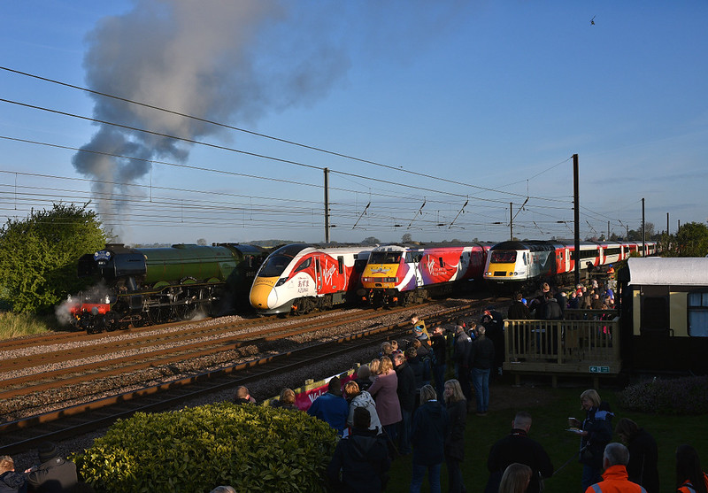 4 Train event in stunning morning light,sees Flying Scotsman,Azuma,Dvt 82205 and 43238 in a staggered formation awaiting time at Beningborough.23/04/2017.