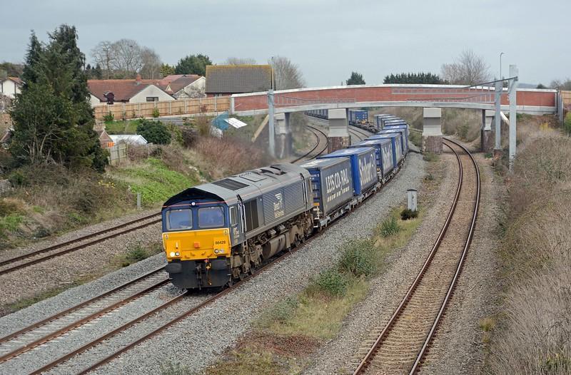 4V44 Daventry to Wentloog behind 66428. 28 platforms, 25 loads.