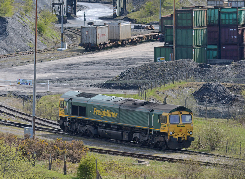 Backing onto the train, immedately above are the coal containers carrying domestic housecoal which are tripped via various trunk services to Mossend in Scotland. Possibly the last wagonload service left in Britain.