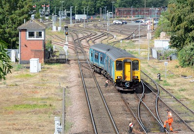 This ATW 150 was reversing on to the Abbey Foregate curve prior to returning, empty, to Cardiff Canton.