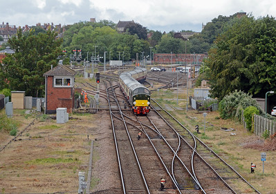 D213 gets admiring glances from Network Rail ground staff, the signalman leans out of his box to see the Whistler pass.