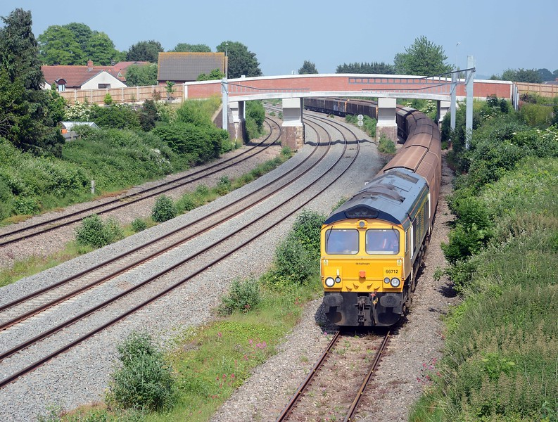 66712 on today's 6V32 the empty vans from Tilbury to Trostre, today's consist included 3 VGAs and 15 IWA Cargowaggons.