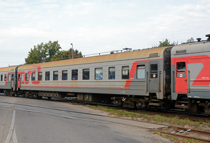 These passenger cars look a little more ragged than those on the St Petersburg train.