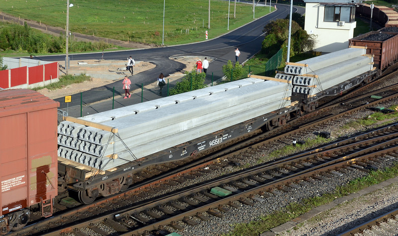 A true mixed freight it included concrete beams on flat cars...