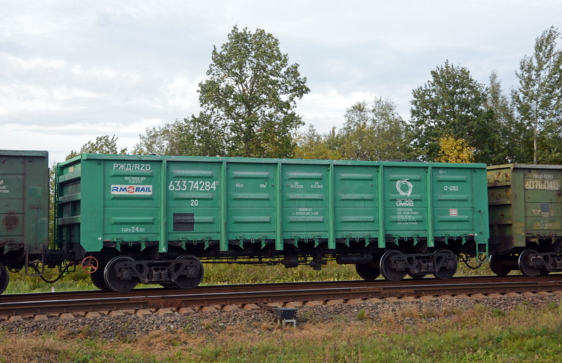 Box wagon from RM Rail with RZD reporting marks.