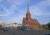 In front of the city's Lutheran Cathedral a pair of ex-Schwerin Tatra T3s