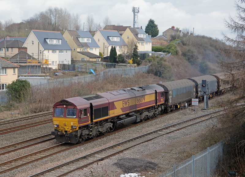 66079 James Nightall GC gathers speed on the 6H24 Llanwern to Margam, running as an STP schedule today.
