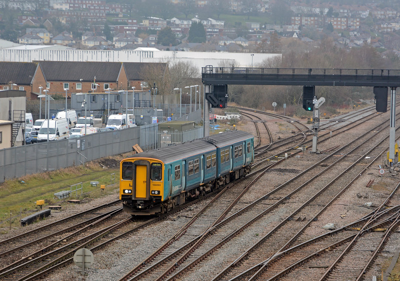 A few minutes later one of ATW's 150 workhorses comes off the Ebbw Vale line bound for Cardiff