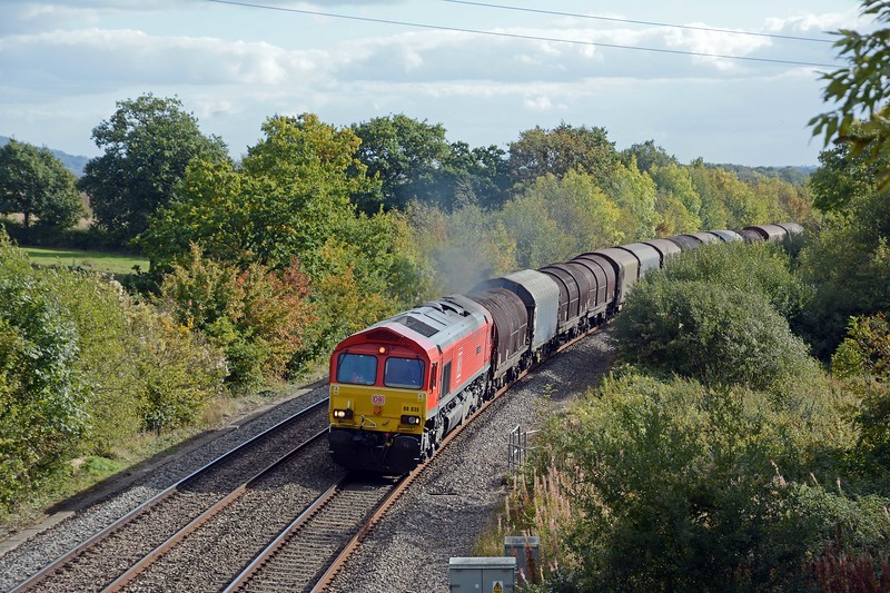 In the opposite direction and from the next bridge towards the village of Awre, 66035 Resourceful on the 6M41 Margam to Round Oak