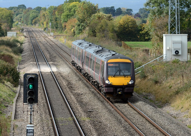 In the opposite direction a pair of XC 170s on the 10:45 Cardiff to Nottingham