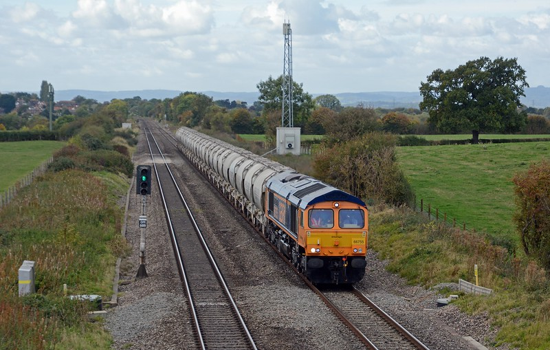 Today's 6M35 Gloucester New Yard to Clitheroe Cement Works behind 66755, which had arrived earlier in the day from Washwood Heath