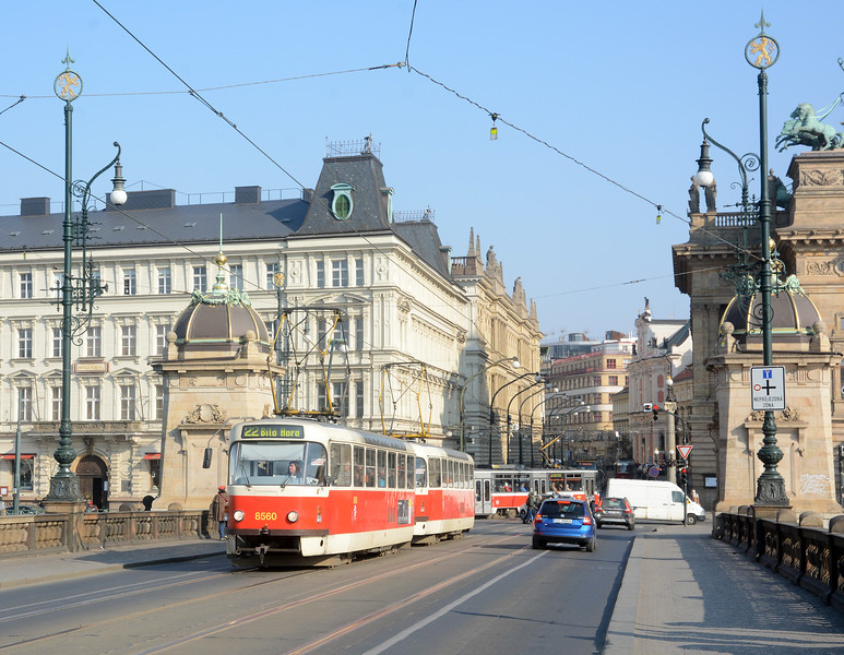The classic Tatra T3, of which a significant number remain in service, rebuilt over the years they can still be found on a whole range of services. This pair on a 22 are crossing Legli Bridge over the Vlatava. 22 is one of the routes most used by tourists as it serves Prague Castle.