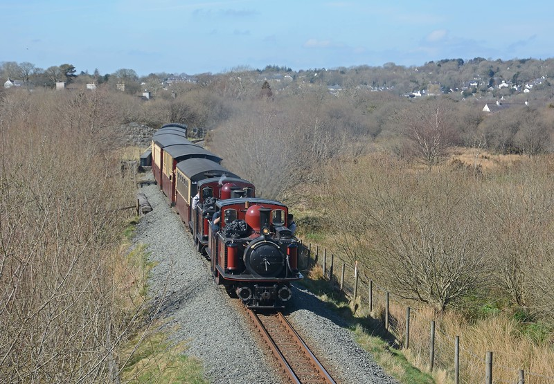 Leaving Waunfawr, the two Fairlies have no problem with a relatively light off peak train. They were moving at quite a clip as they passed under the A4085 on the approach to Bettws Garmon.