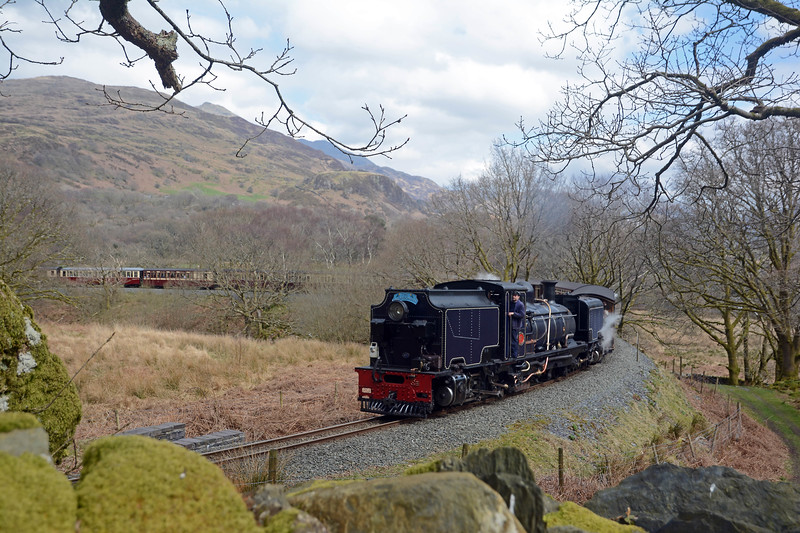 Ffestiniog GM Paul Lewin was crewing on 87 today as it climbs the 2.5% grades above Beddgelert.