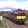 37669 with 57316 on the rear storm away from Burneside passed Higher Crossing's No2 signal with the 13:30 Windermere - Oxenholme, 20/6/2018.