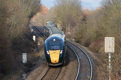 The 14:32 to Paddington (arr. 17:59) winding its way through Shelwick Junction, taking the Worcester line, first stop Ledbury.