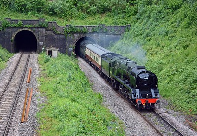 Rebuilt West Country pacific 34046 Braunton running as 5Z26 Crewe to Bristol Barton Hill with support coach and 47 tagging on behind.