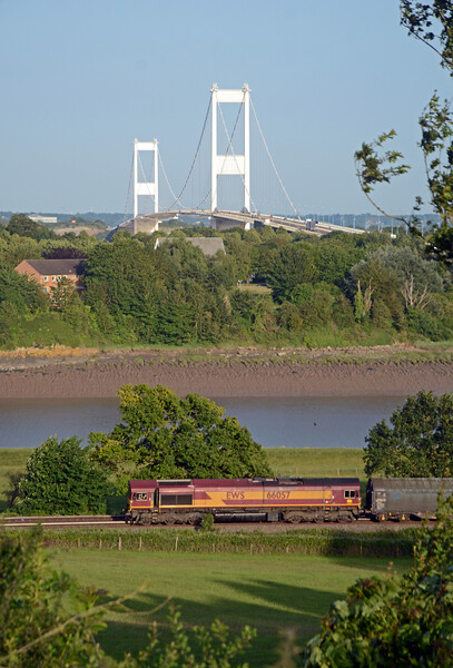 In the opposite direction 66057 on the 6Z48 Margam to Middlesbrough loaded steel.