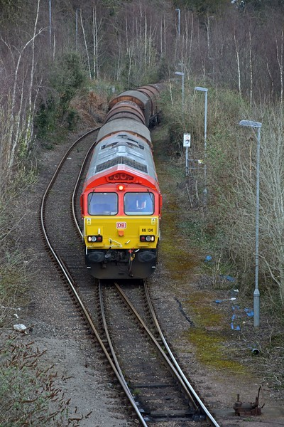 As expected 66134 set for ADJ yard almost immediately, some 30 minutes ahead of schedule at 12:49. It recessed there until 13:45 before returning to Margam where it arrived at 14:45, four minutes late.
