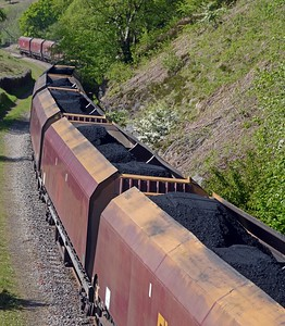 A trainload of Welsh coal bound for Port Talbot for blending with imports.