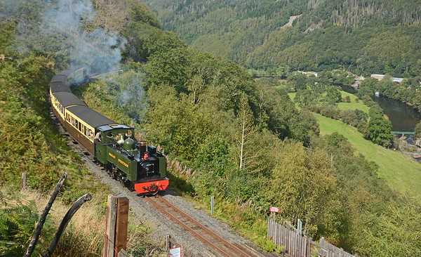 The down train crossed the 12:00 ex-Aberystwyth at Aberffrwd, no.8 having parked its freight was in fine vocal form as it climbed past Rheidol Falls.