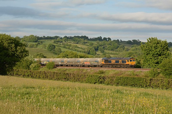 66722 Sir Edward Watkin on 6V41 Penyffordd to Avonmouth followed soon after, it was climbing with the loaded train the last half a mile towards the summit, about to pass over the Longtown Road.