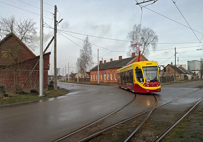 Back at the tram stop and this time one of Daugavpils newest trams, a TVZ 71-911 'City Star' which is equipped with a pantograph rather than trolley pole.