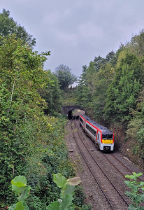 Network Rail has been doing some clearance work in the cutting south of Pontrilas Tunnel. From the Monmouth Road bridge the 1V92 06:25 Holyhead to Maesteg.