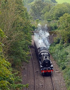 Another one off today was the 5Z45 Bishop Lydeard to Carnforth, returning LMS Jubilee 45690 Leander. Second Jubilee on the Marches Line in under a week!
