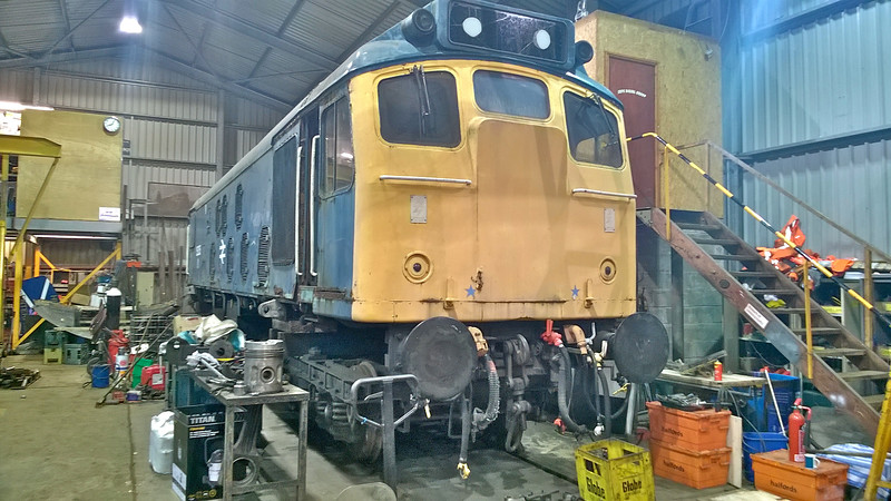 The loco is settled ( slightly high ) on It's accommodation bogies .<br /> 25th September 2016.<br /> Pic By : S S .