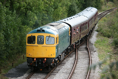 33035 approaches Shottle with the 1115 Duffield - Wirksworth 16/8/14
