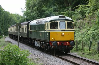 33057 approaches Heathfield Farm Crosing with 1145 Bishops Lydeard - Minehead 4/7/14