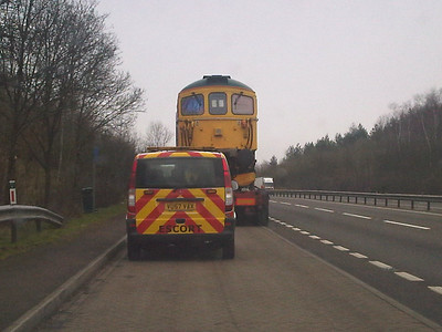 33103 'Swordfish' in a layby on the A34 just south of Oxford at 1145am en-route from Swanage to Nemesis, Burton-on-Trent 28/2/12