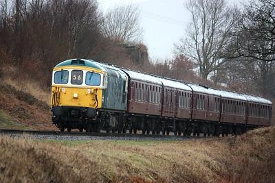 33109 'Captain Bill Smith RNR' approaches Burrs with 1340 Rawtenstall - Heywood 1/3/15