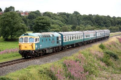 33109 'Captain Bill Smith RNR' passes Burrs Country Park, Bury with 1505 Heywood - Rawtenstall 16/8/15