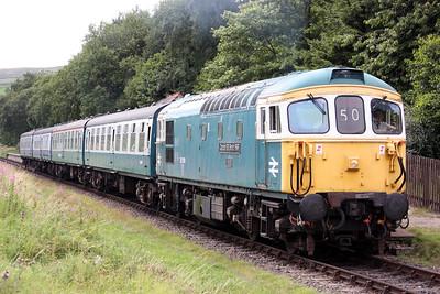 33109 'Captain Bill Smith RNR' departs Irwell Vale with 1215 Heywood - Rawtenstall 16/8/15