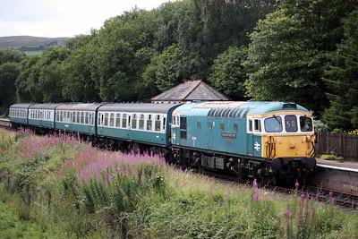 33109 'Captain Bill Smith RNR' arrives at Irwell Vale with 1215 Heywood - Rawtenstall 16/8/15