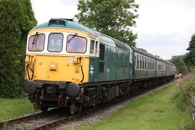 33109 'Captain Bill Smith RNR' arrives at Irwell Vale with 1340 Rawtenstall - Heywood 16/8/15