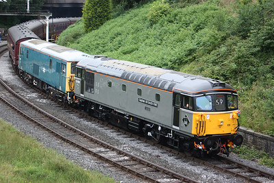 33109 & 73001 depart Bury with the 1336 Rawtenstall - Heywood 7/7/17