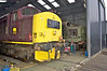 37401 sits next to 37403 in the Bo'ness MMPD ( Diesel shed ) , the loco has been brought in for assessment .18th May 2013.