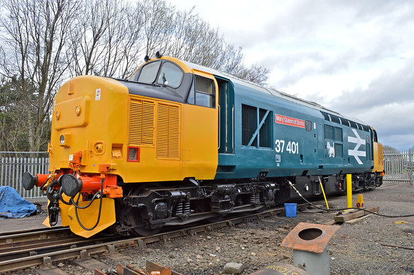 RUNNING DAY.<br /> Hired for the day to haul a birthday bash with proceeds going to 37025.<br /> 37401 having a wee drink like most of the passengers on her train.<br /> 22nd March 2014