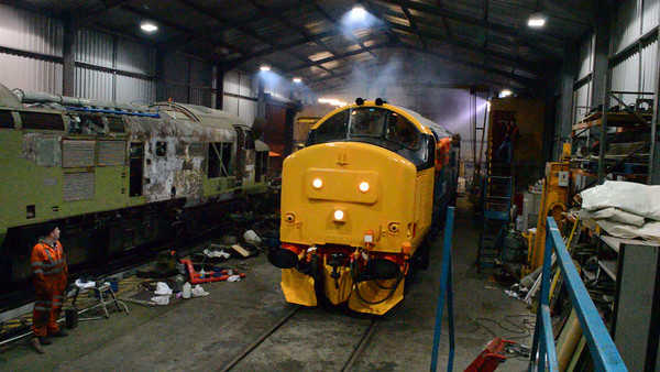 VIDEO.<br /> The loco departs the shed for its first test run.<br /> 27th December 2013.