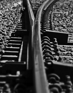 Elastic rail spikes at Robertson points.