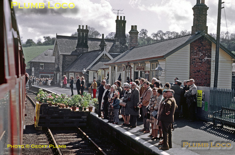 HRH The Duchess of Kent unveiled another commemorative plaque at Grosmont station and then boarded the opening special train via the temporary ramp built over the down line, seen in this shot, as the train departs for Pickering on the afternoon of Tuesday 1st May 1973. Slide No. 11046.