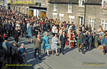 Having arrived aboard the Royal opening special train from Grosmont, HRH The Duchess of Kent, accompanied by local dignitaries and a large crowd of well-wishers, is now walking from Pickering station to the Black Swan Inn, where the final plaque was unveiled and the NYMR opening formalities concluded. Tuesday 1st May 1973. Slide No. 11092.