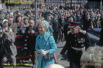 HRH The Duchess of Kent arrives by car with Lord Normanby, the Lord Lieutenant of the North Riding, outside the Angel Hotel in Whitby where a plaque was to be unveiled commemorating meetings held there prior to the formation of the Whitby and Pickering Railway, part of which became the North Yorkshire Moors Railway. This was to mark the official opening of the NYMR on Tuesday 1st May 1973. Slide No. 11006.