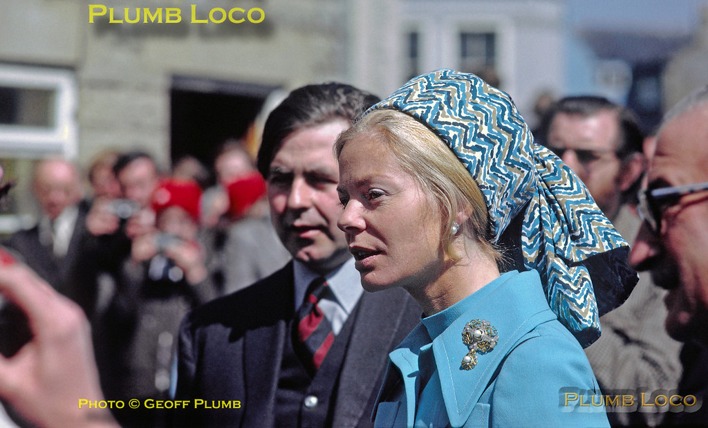 HRH The Duchess of Kent, accompanied by Lord Downe, chats with the assembled crowds ouside the Angel Hotel in Whitby, prior to unveiling a plaque to mark the official opening of the North Yorkshire Moors Railway. Tuesday 1st May 1973. Slide No. 11010.