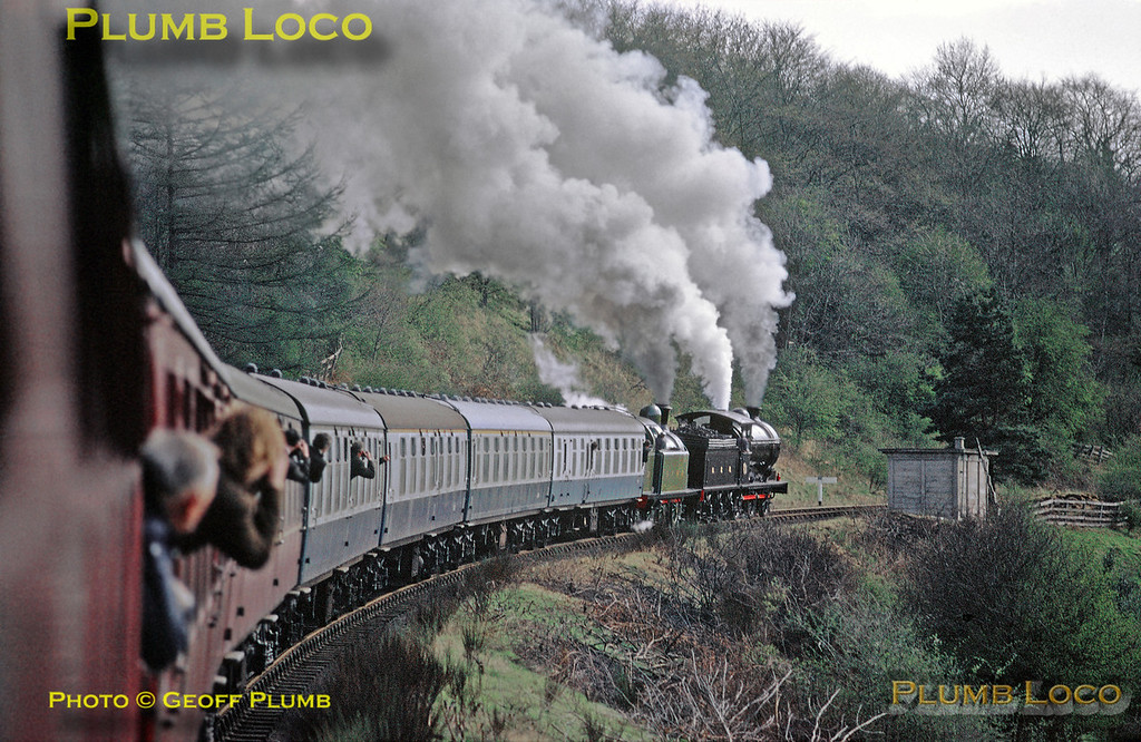 The NYMR Royal opening special train, conveying HRH The Duchess of Kent and invited guests from Grosmont tp Pickering, blasts up the 1 in 49 gradient of Goathland Bank near Green End, hauled by P3 0-6-0 No. 2392 and Lambton 0-6-2T No. 29. Tuesday 1st May 1973. Slide No. 11049.