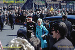 HRH The Duchess of Kent arrives by car with Lord Normanby, the Lord Lieutenant of the North Riding, outside the Angel Hotel in Whitby where a plaque was to be unveiled commemorating meetings held there prior to the formation of the Whitby and Pickering Railway, part of which became the North Yorkshire Moors Railway. This was to mark the official opening of the NYMR on Tuesday 1st May 1973. Slide No. 11005.